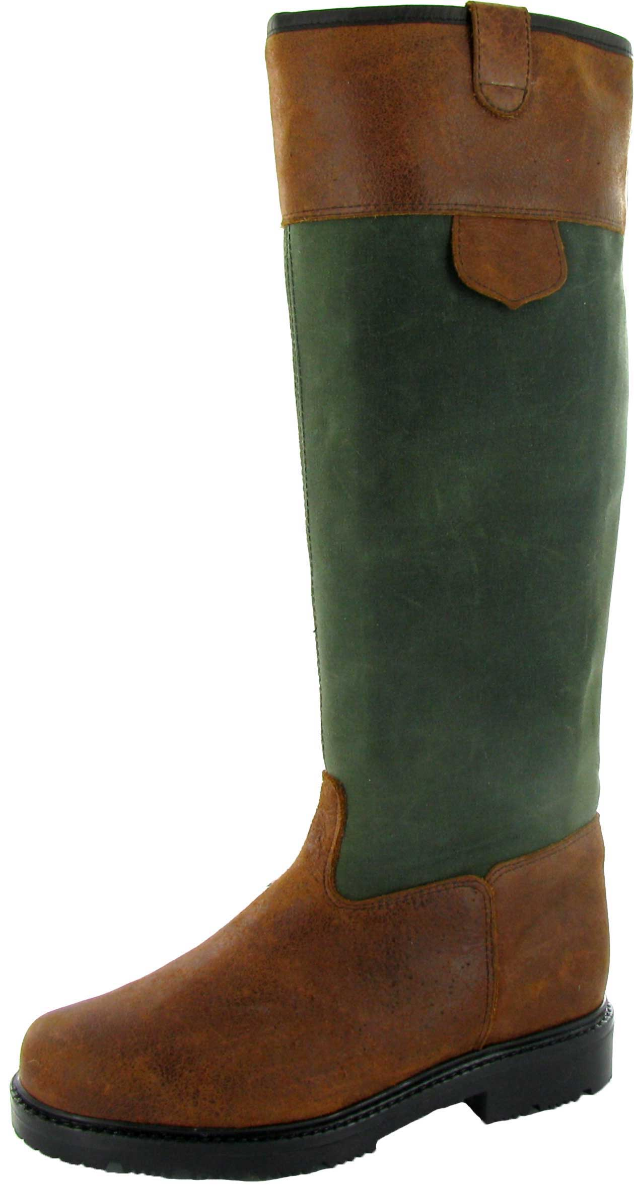 Paul Brodie Green Oil Skin Boots w Brown Leather