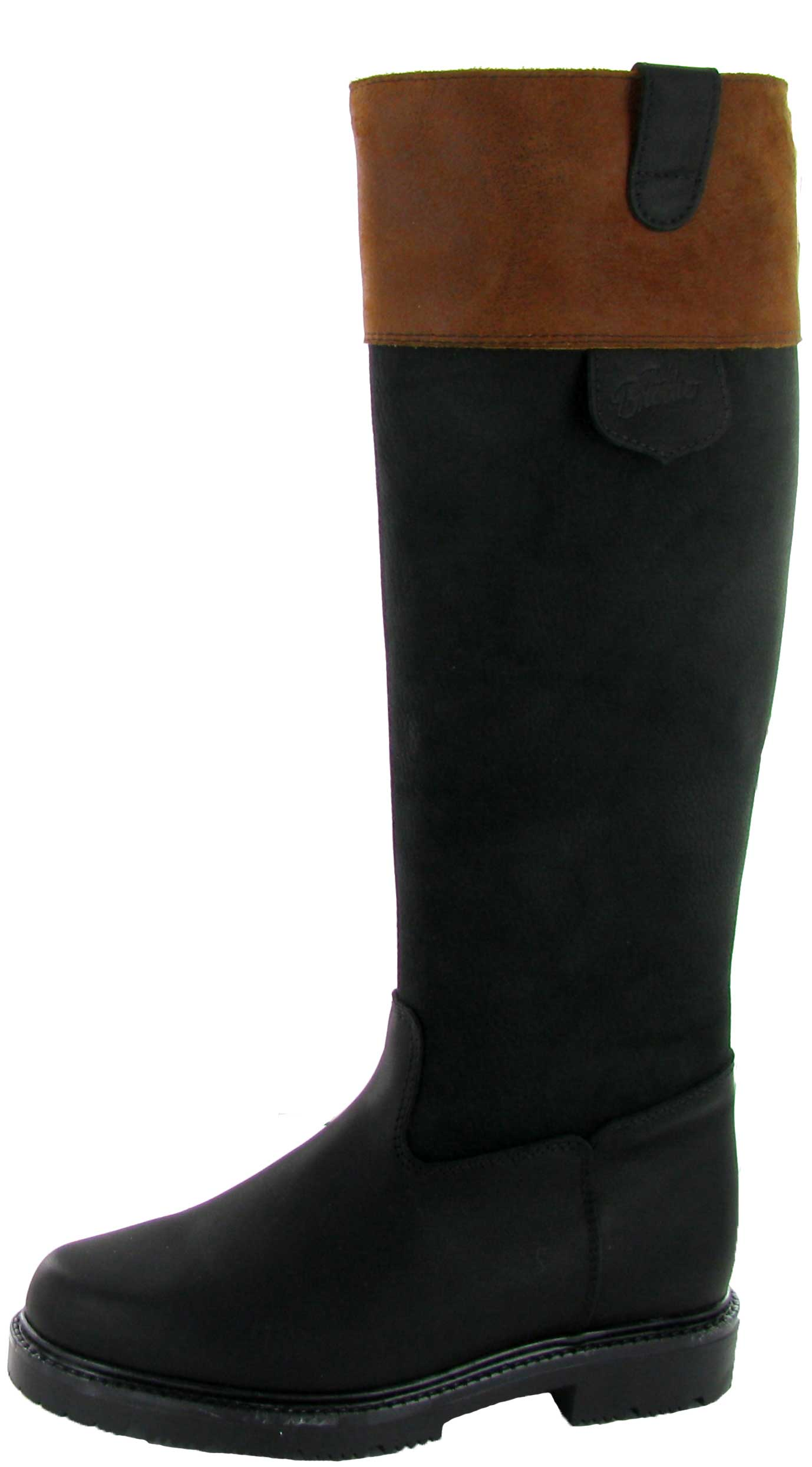 Paul Brodie Tall Pull-On All Leather Boot with Brown Cuff