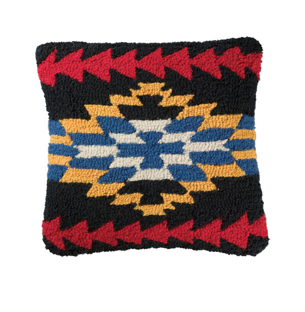 Midnight Eyes Hooked Wool Pillow